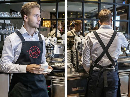 Kellnerschuerze ohne Nackenband aus Jara nero