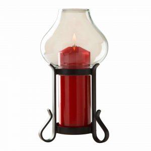 Lumina schwarz mit Klarglas und roter Zierhuelle